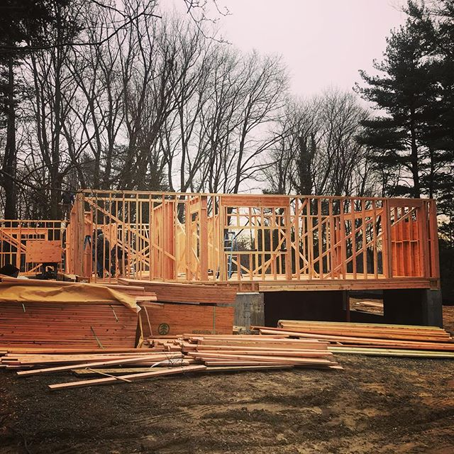 These guys move FAST! Framing!  @koslbuilding  #framing #newconstruction #5Dellwood #Ardsley #architecture #burblife #modernhome #home #westchester #newhome #interiordesign #design #customhomes