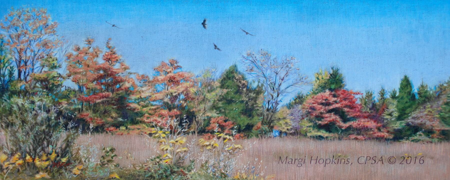 "The Buzzards of Shor Park, approximately 16 x 4"", Colored Pencil on Linen."