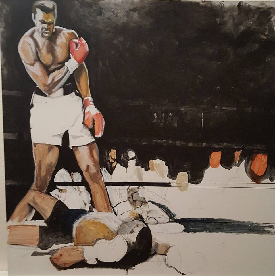 An acrylic piece my mother is working on. A tribute to the Great Ali.