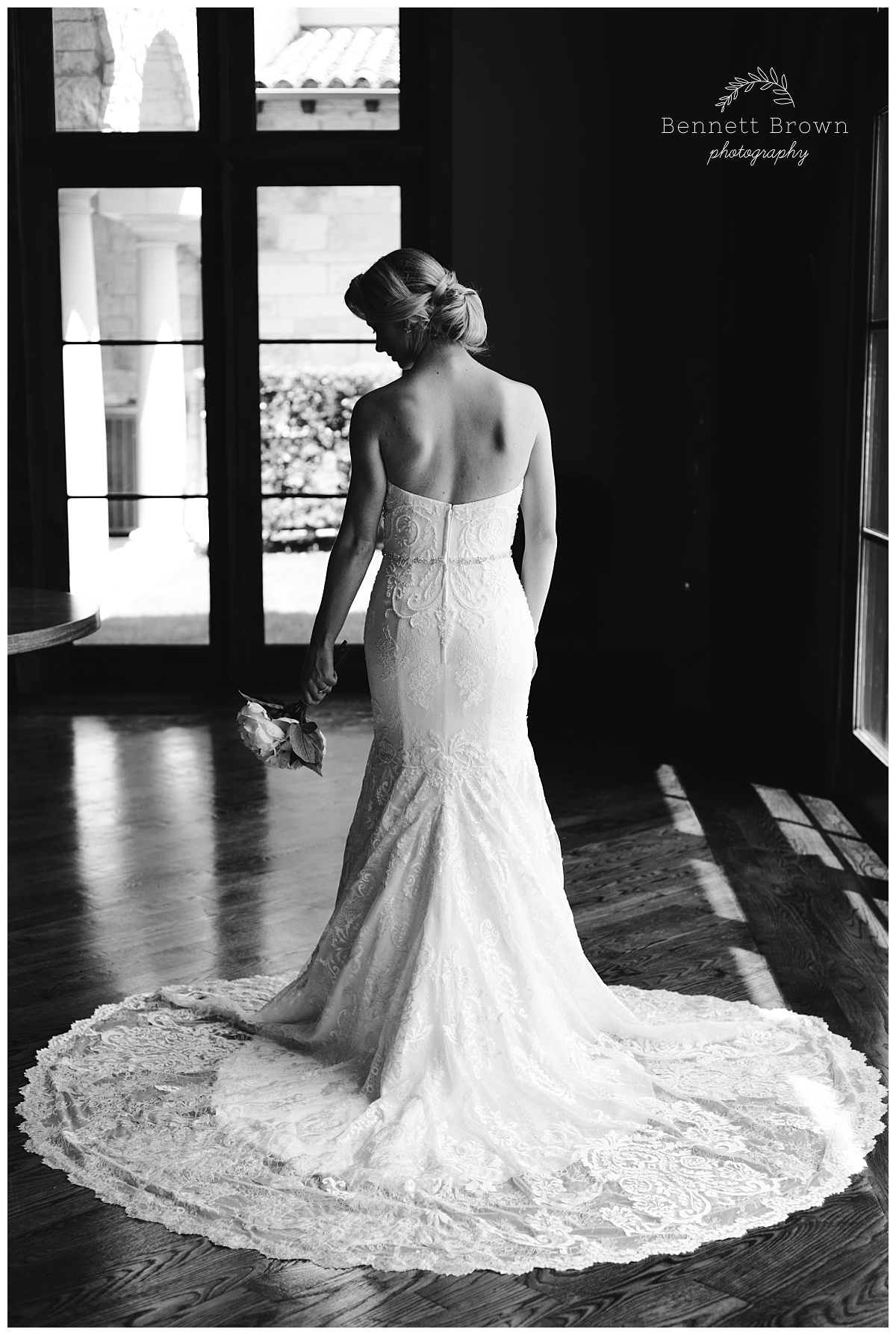Train Bennett Brown Photography Bridal Portraits gown beading