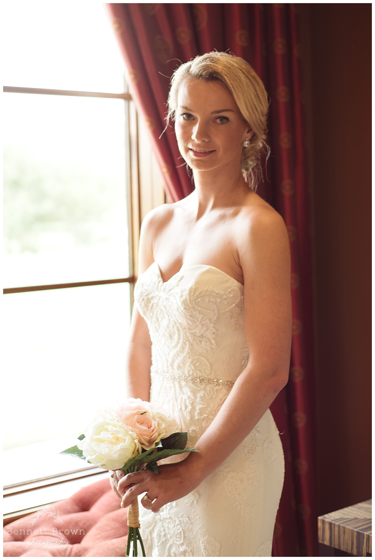 Natural Light Bennett Brown Photography Bridal Portraits gown beading