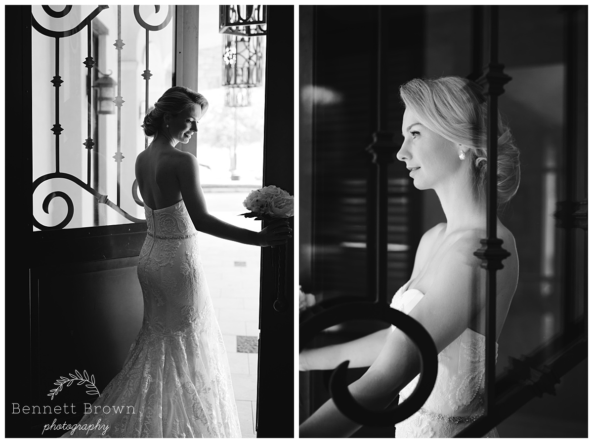 Black and white Profile Bennett Brown Photography Bridal Portraits gown beading