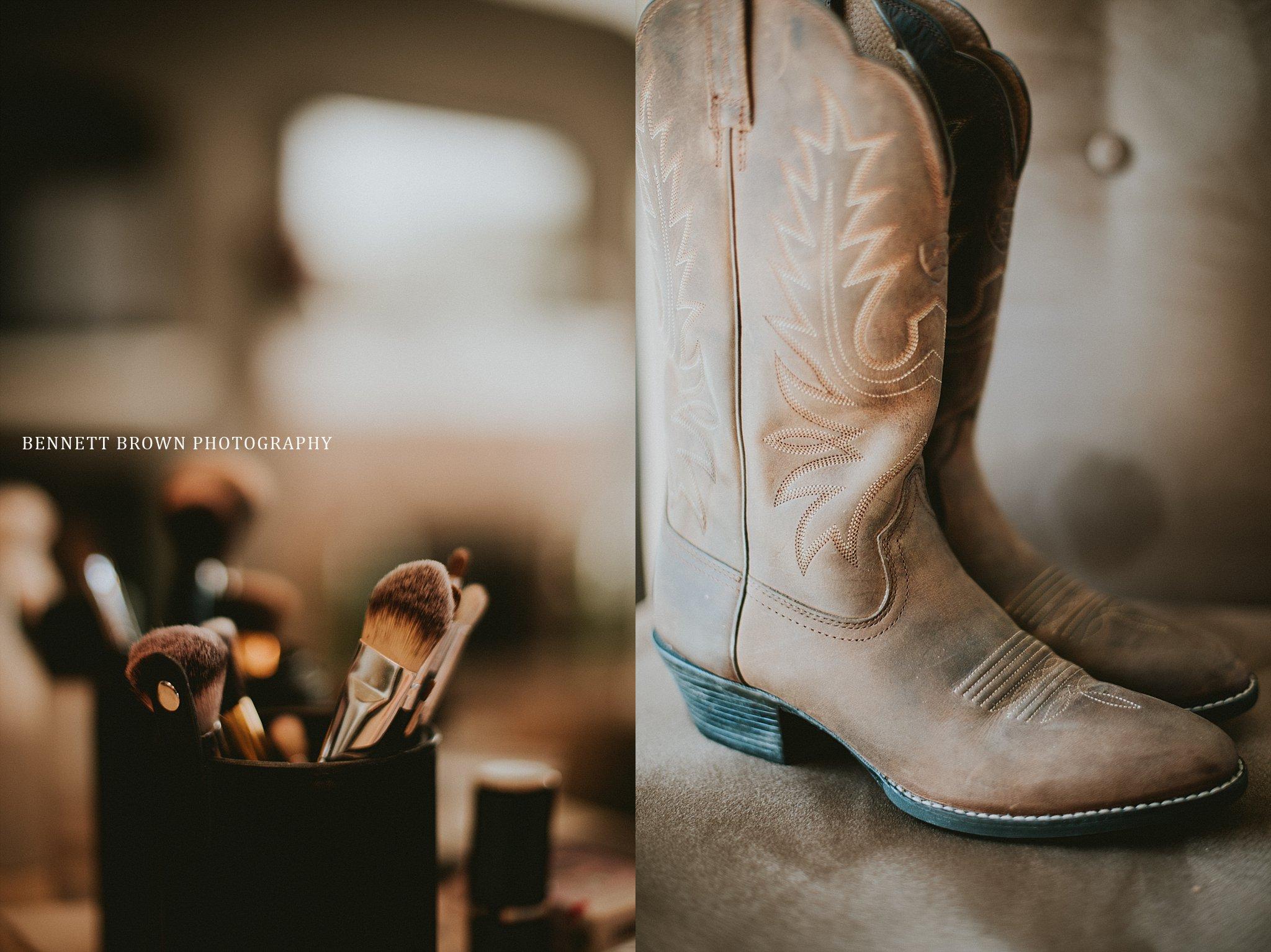 Bennett Brown Photography wedding details make up brush cowboy boot Frisco Texas