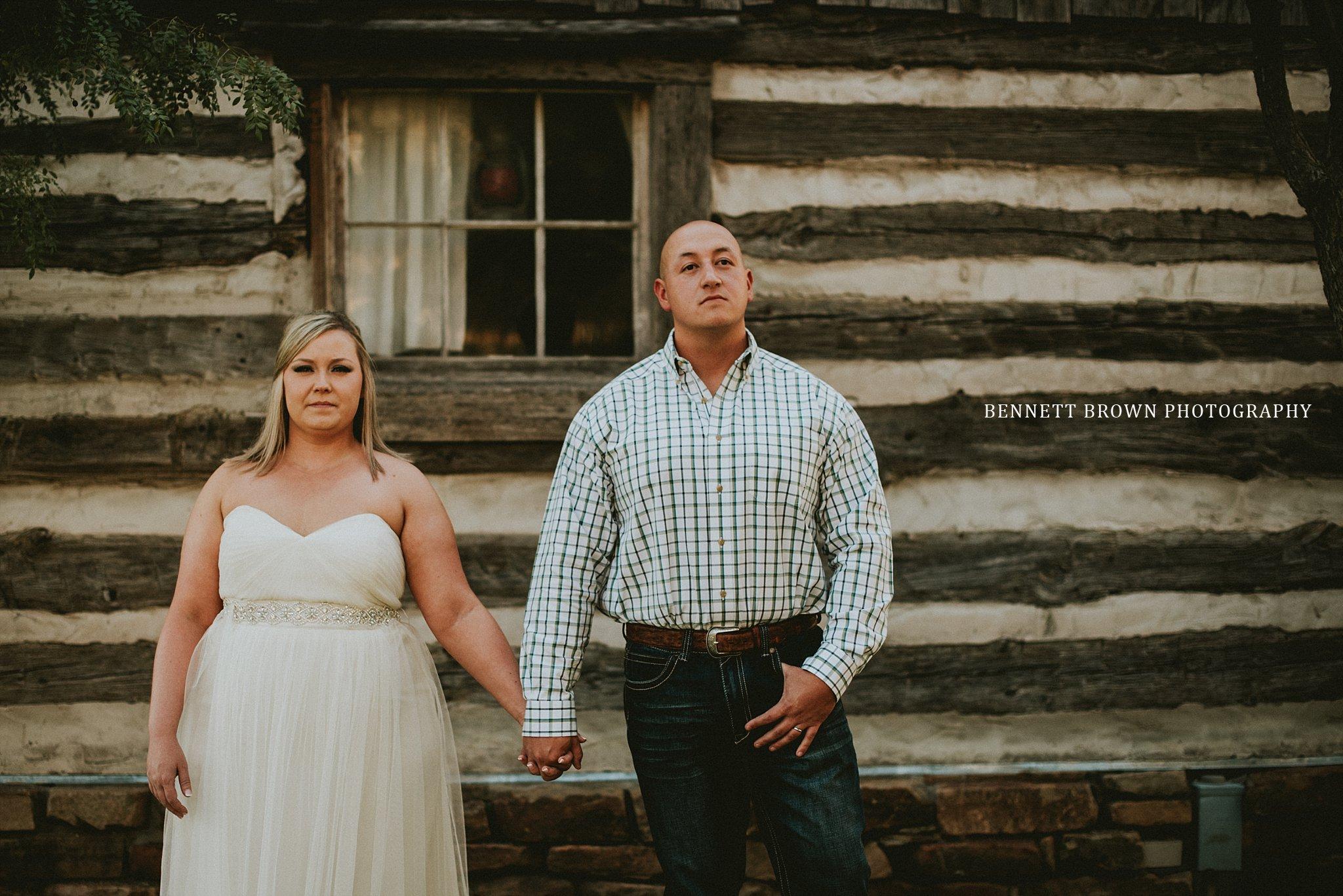 Bride groom gown plaid wedding reception