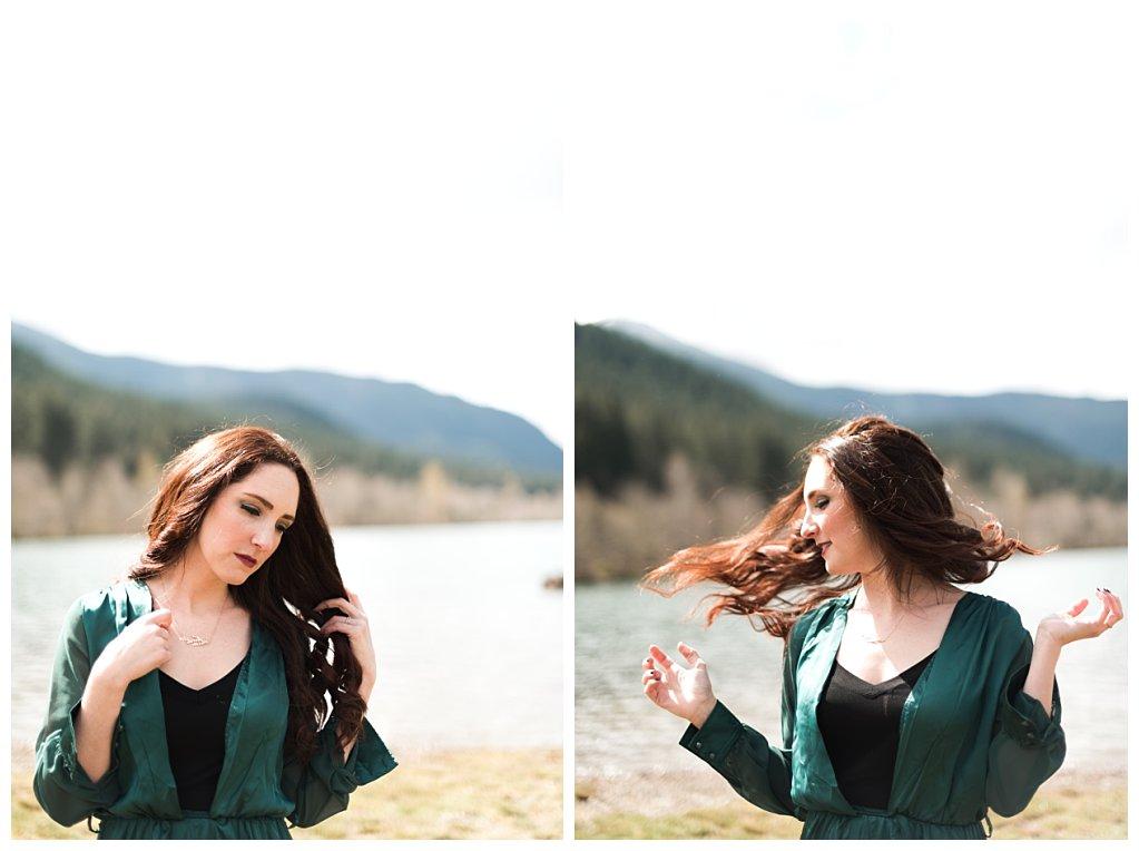 Anueva jewelry Bennett Brown photography green dress lake mountains