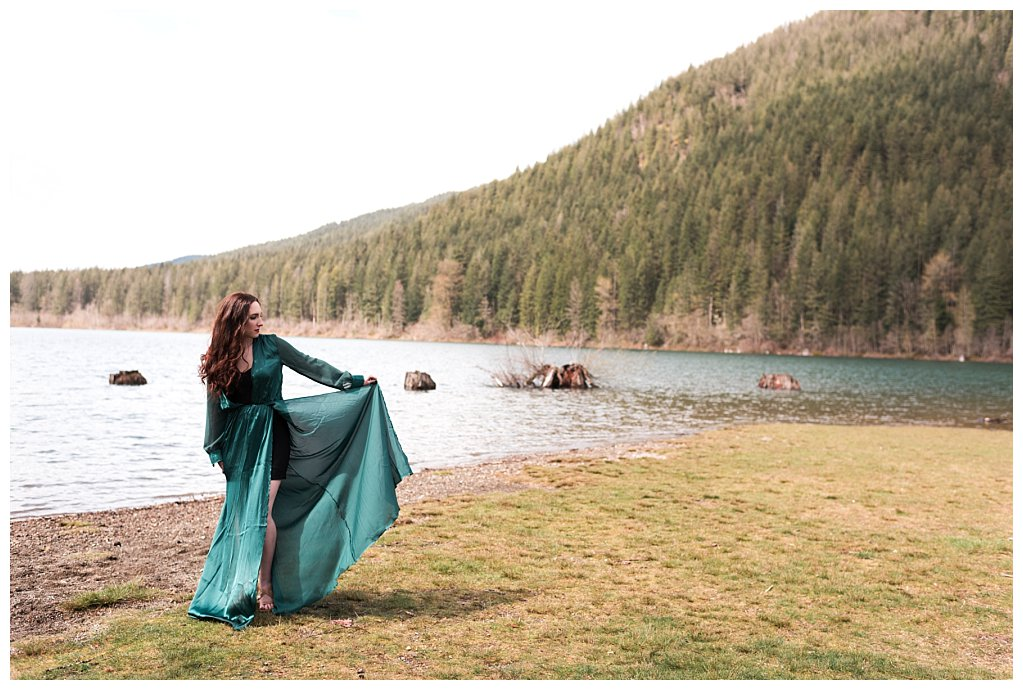 Anueva jewelry Bennett Brown photography green dress lake mountains Skirt land space