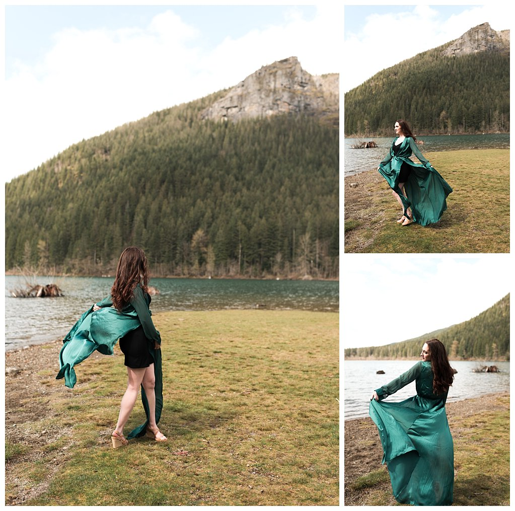 Anueva jewelry Bennett Brown photography green dress lake mountains Skirt landscape