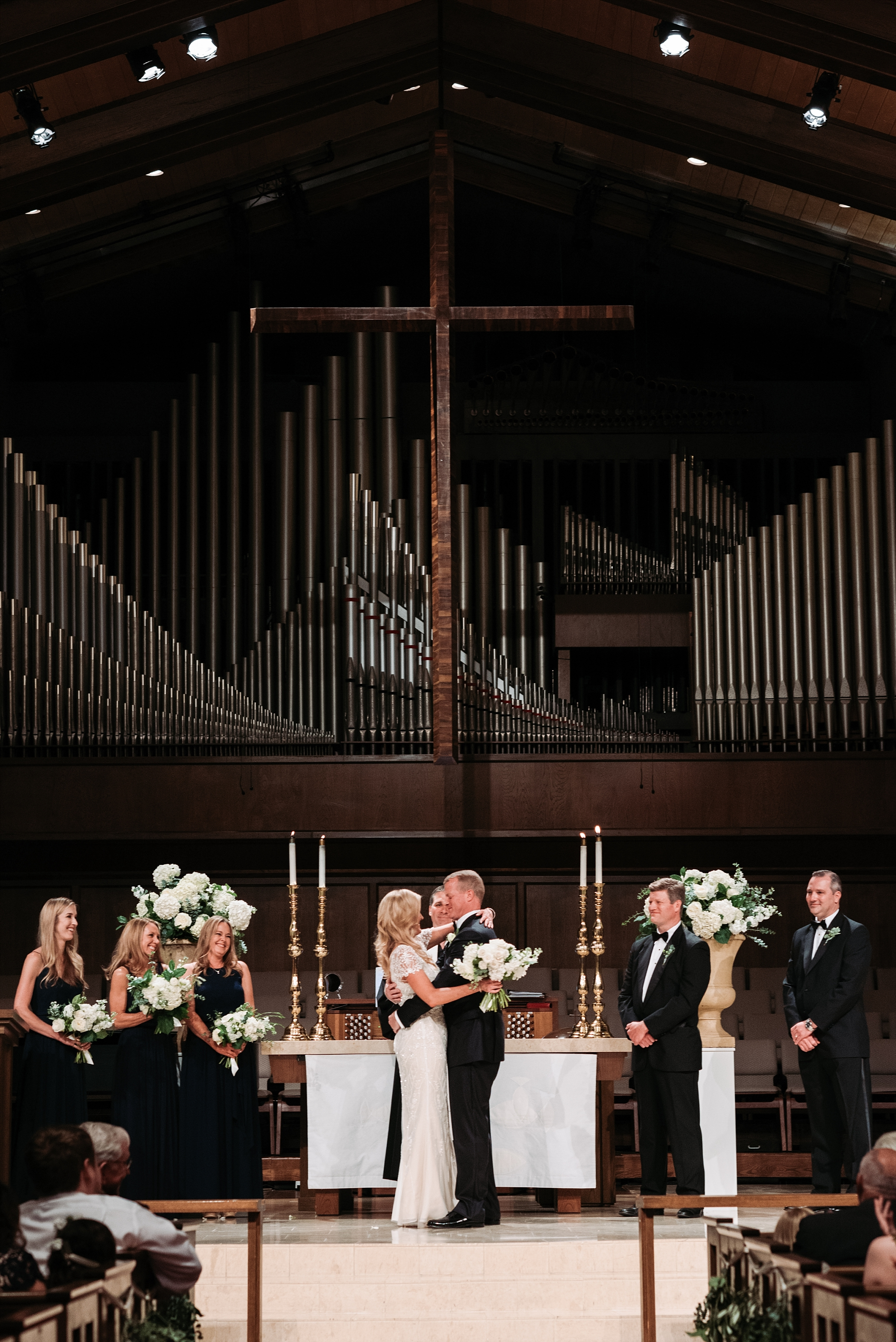 Chapel organ wedding bride groom photography