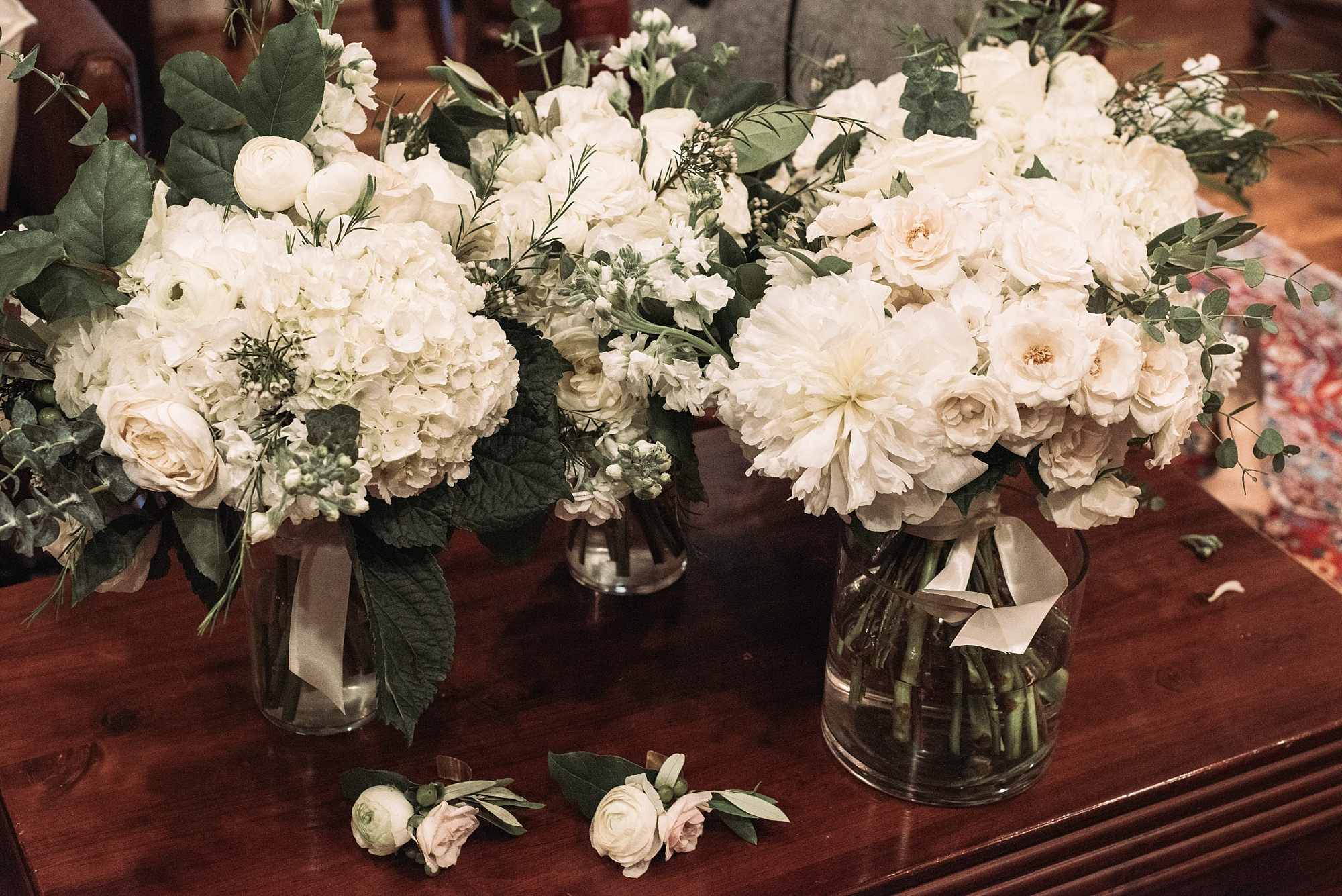 Wedding details floral flowers hydrangeas white