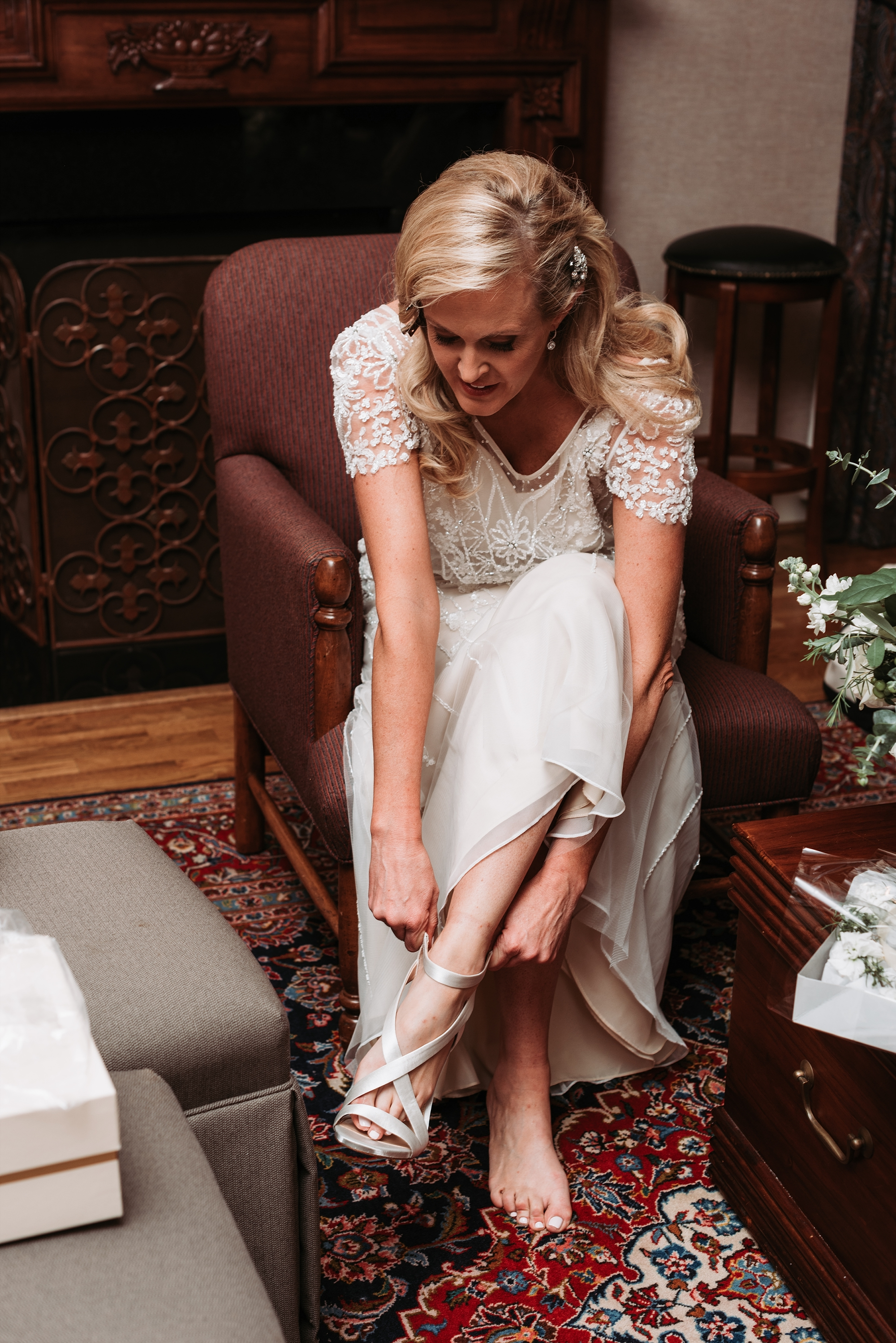 Bride wedding bridal party photography details Bridal gown beading
