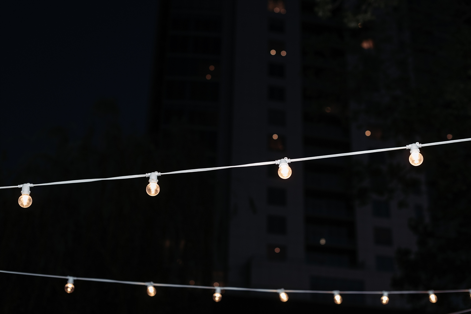 Bennett Brown photography wedding reception string lights