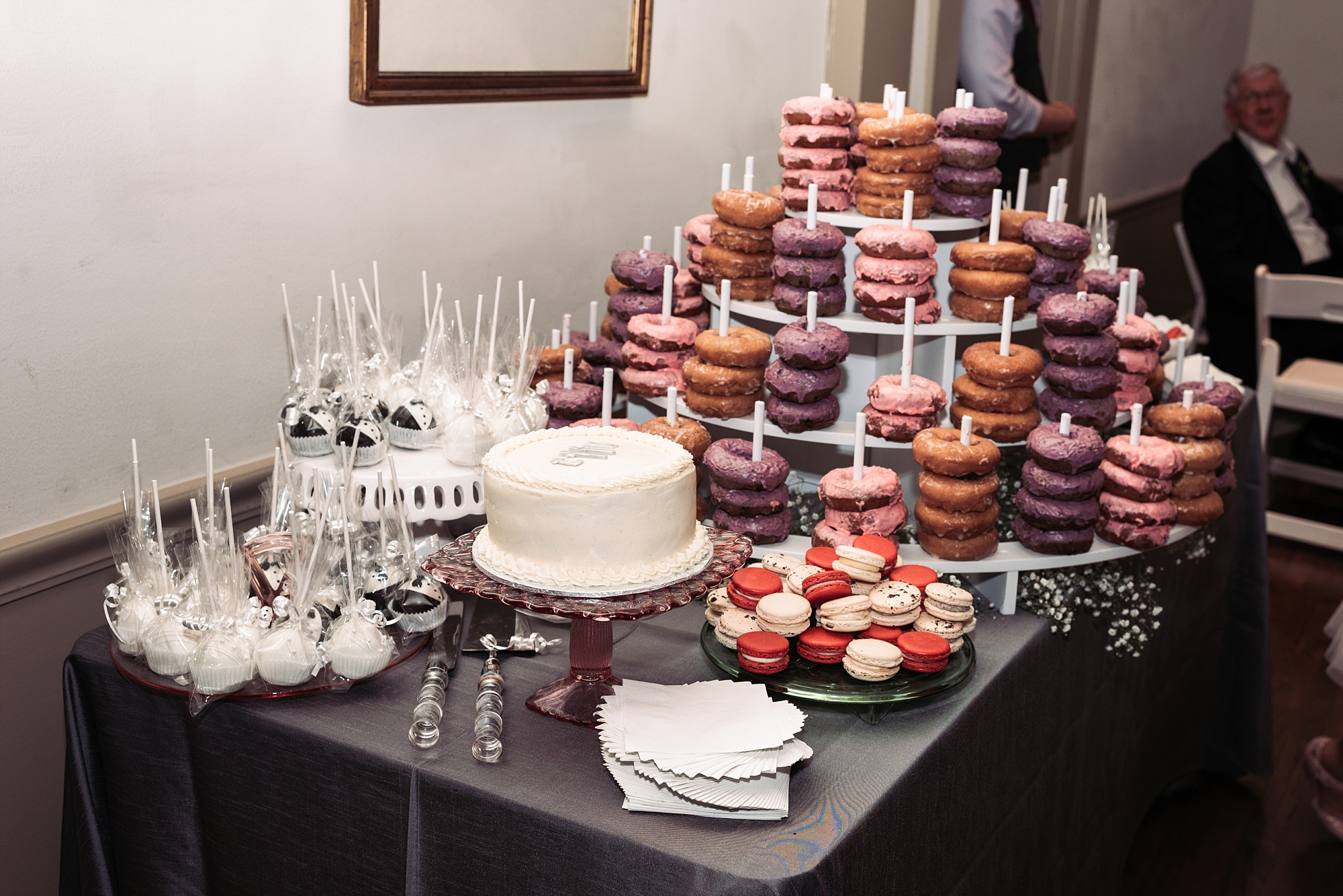 Wedding reception dessert pastry donuts macaroons Dessert table bar