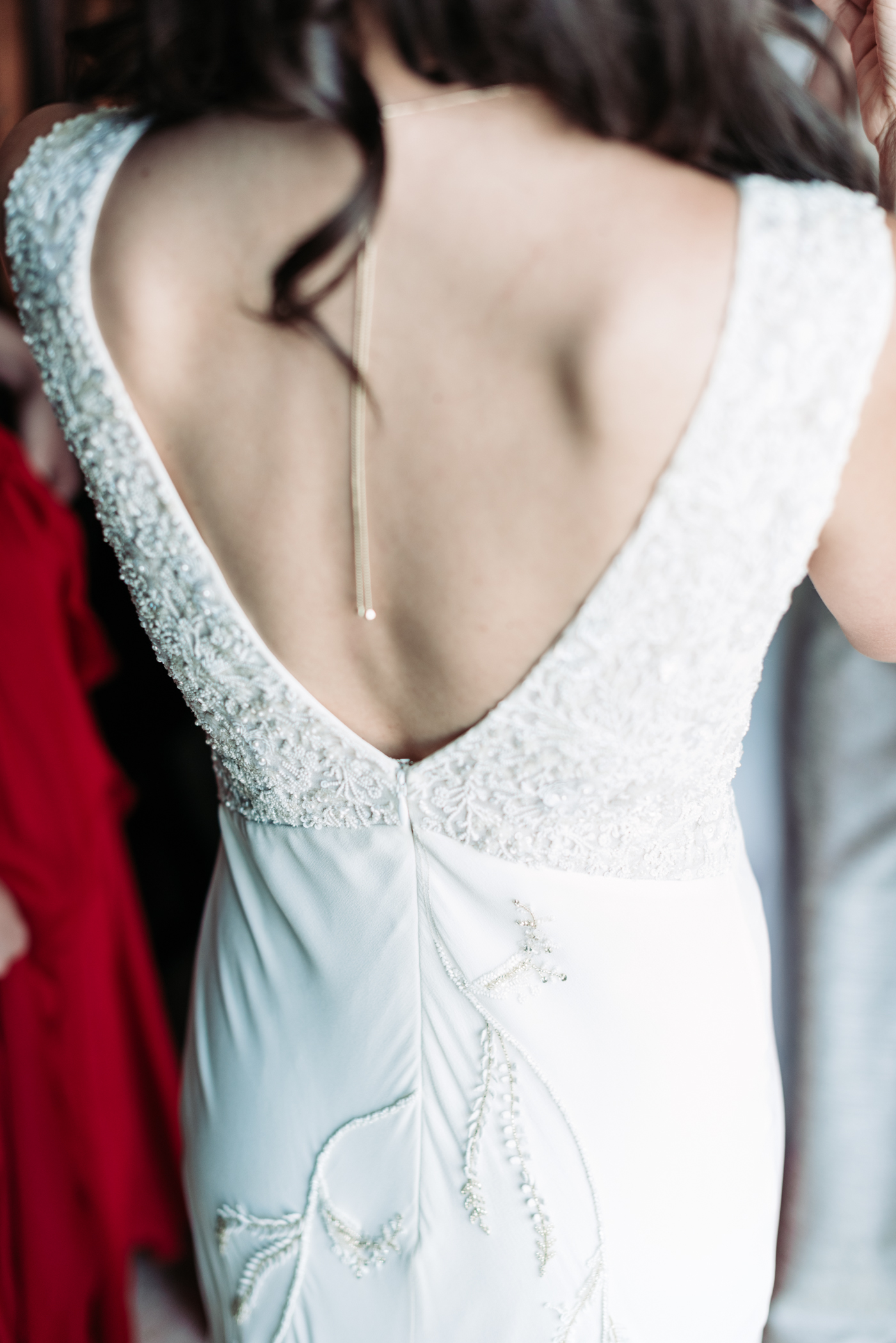 Wedding details beading Bennett Brown photography wedding bridal gown bride