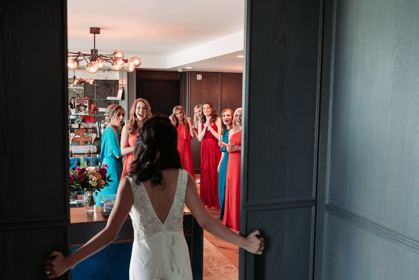 Bridal party Bennett Brown photography wedding bridal gown bride