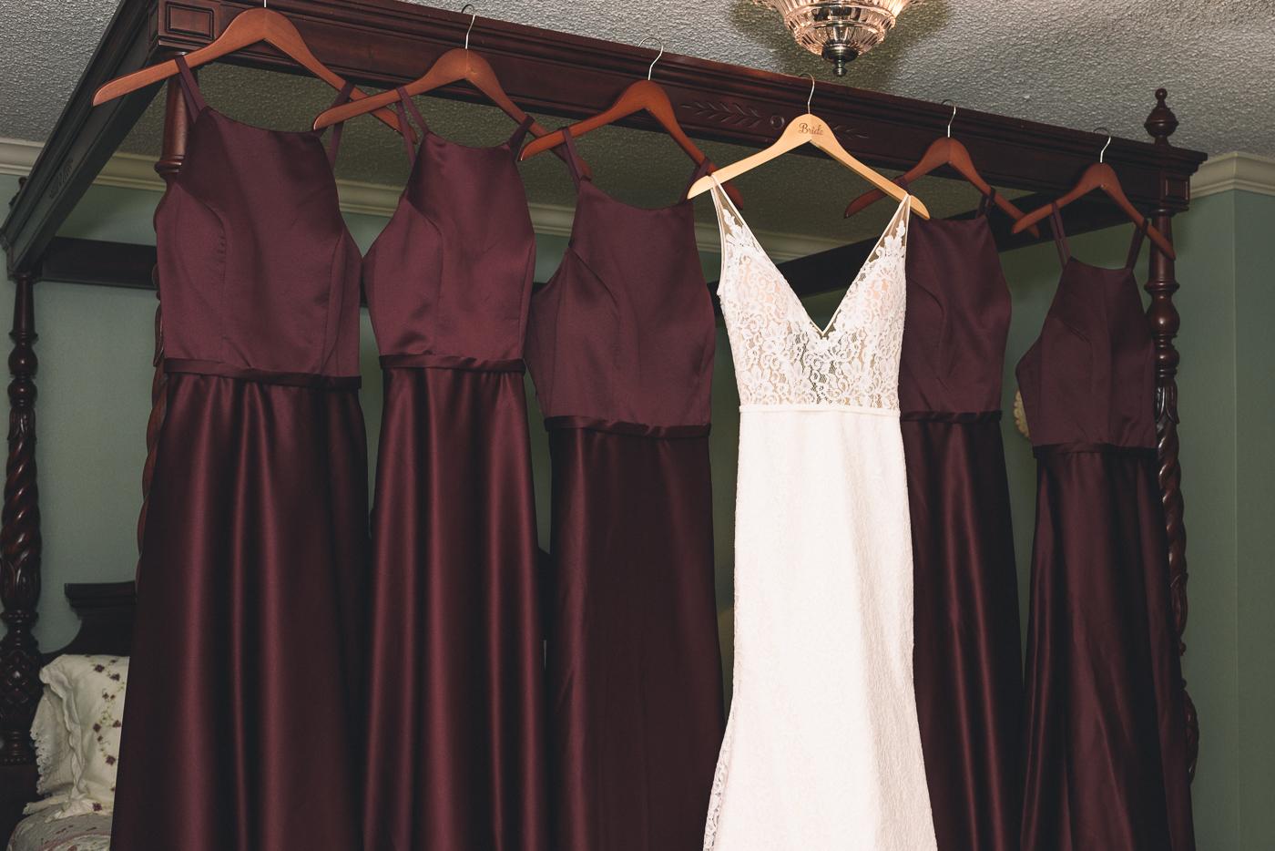 wedding gown white dress v-neck lace burgundy bride's maid's dresses