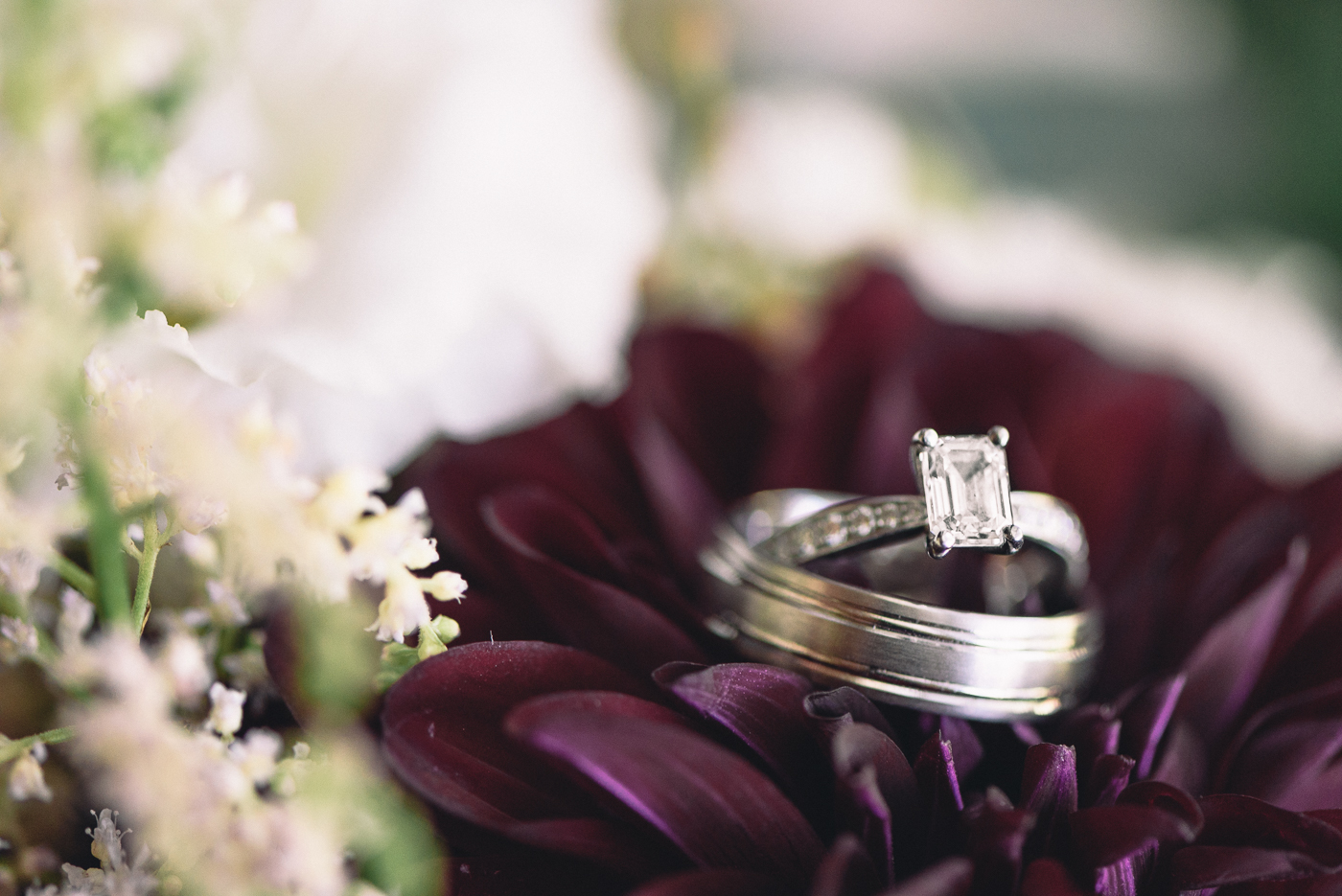 wedding rings bands bouquet purple dahlias