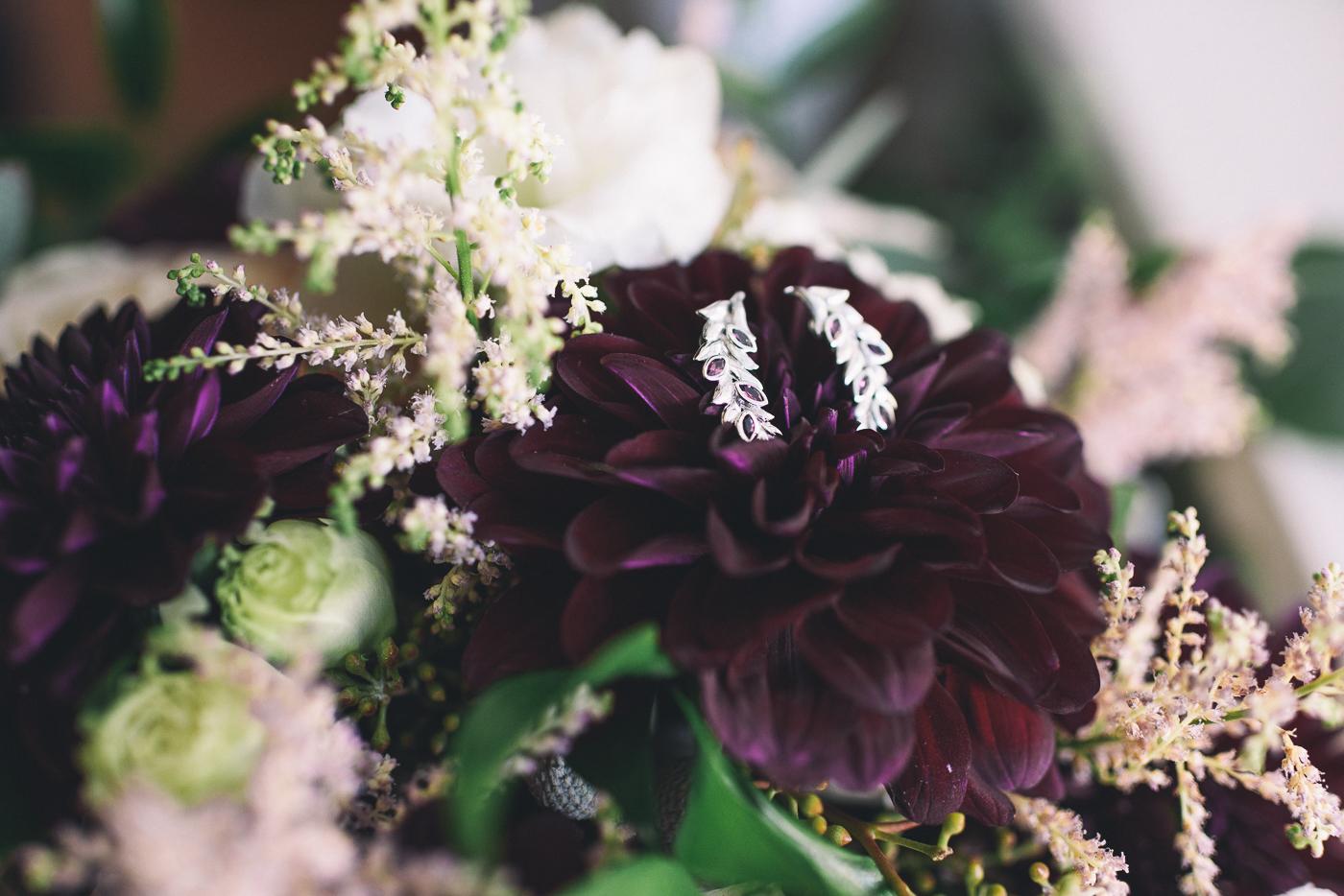 wedding earrings purple dahlias