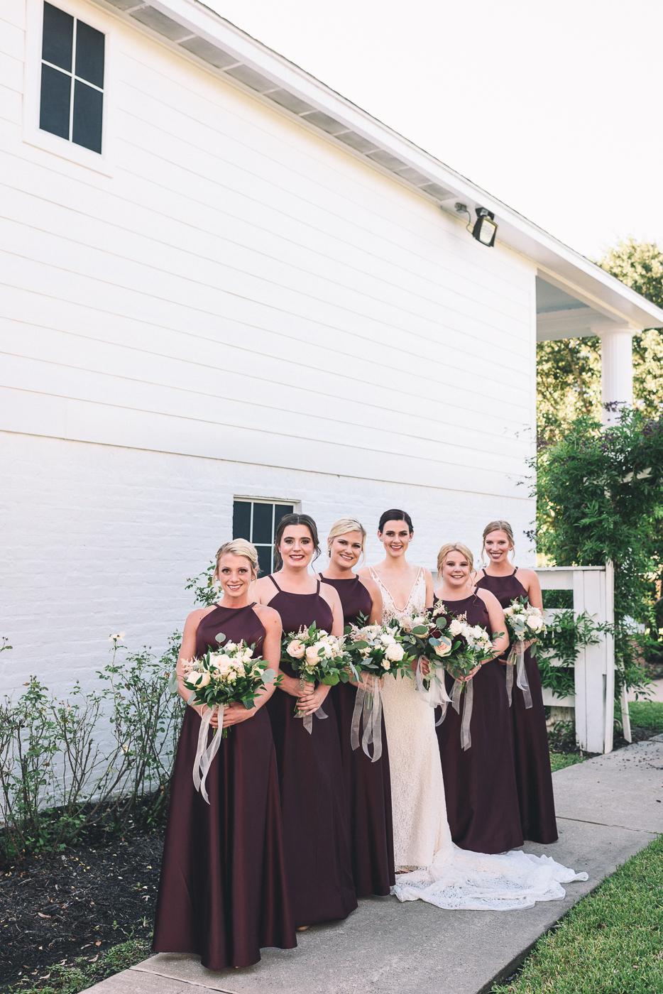 brides maids wedding party portraits dresses up do