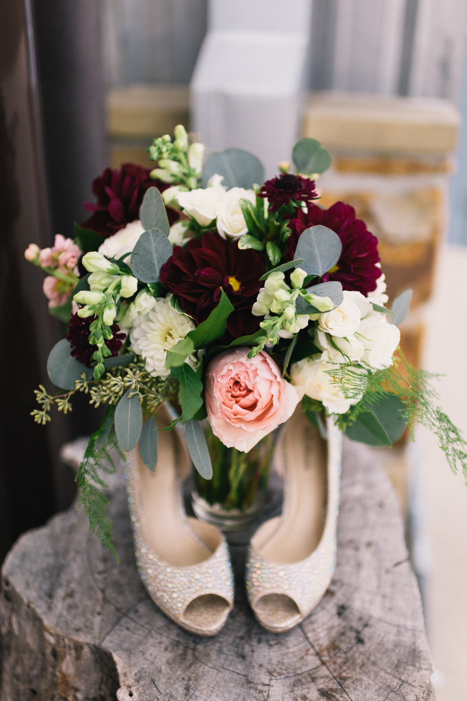 Wedding shoes flowers bokeh pink white red green vase peep toe wedding shoes bouquet