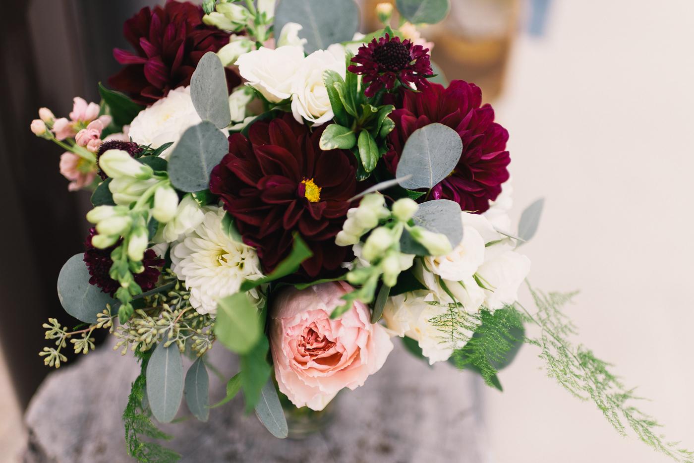 Wedding bouquet flowers pretty green red pink garden roses dahlias