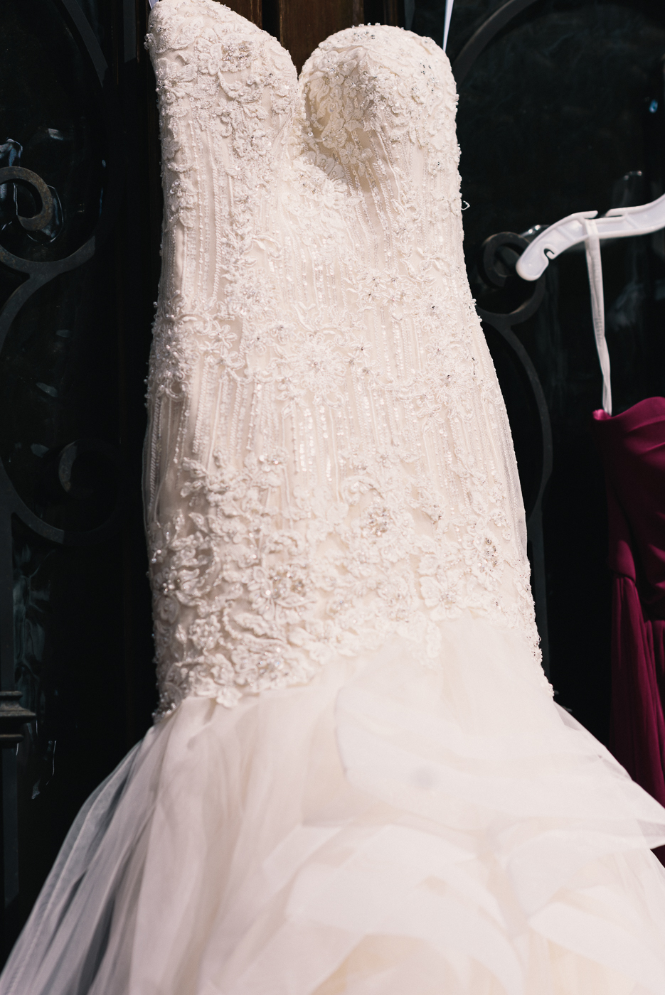 Fit and flare beaded lace mermaid top wedding gown