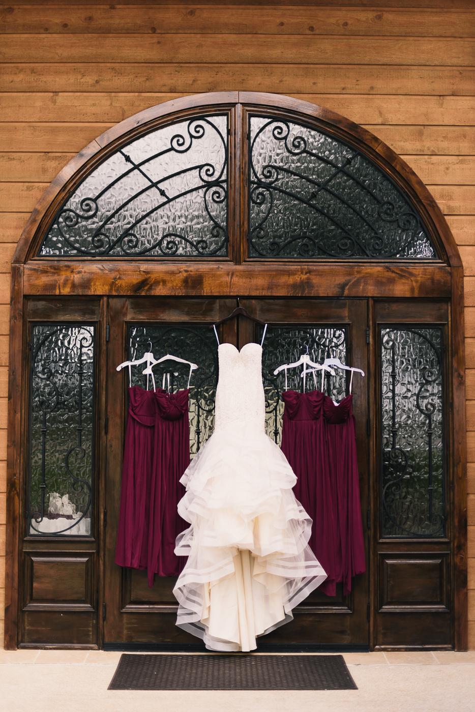Gorgeous wedding dress wedding gown bridesmaid's dress maroon ornate door
