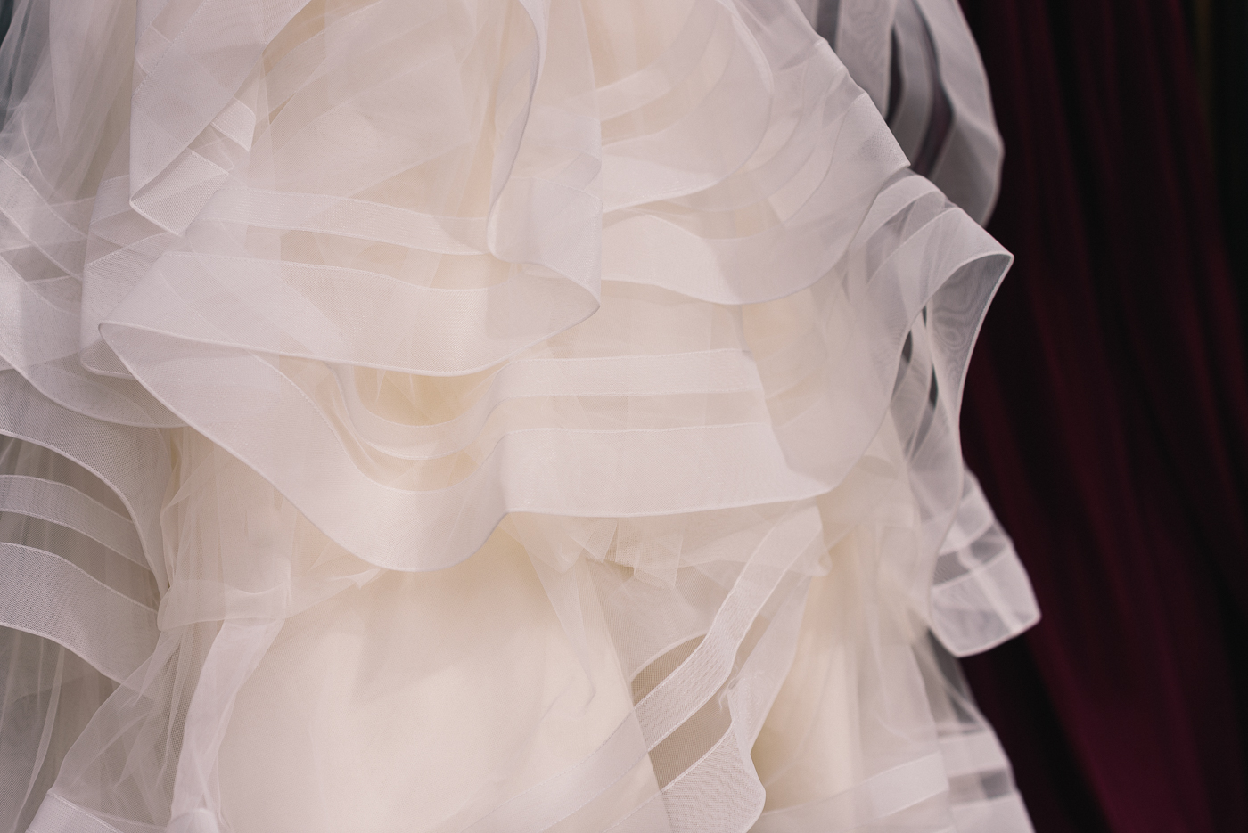 Fit and flare beaded lace mermaid top wedding gown detail shot
