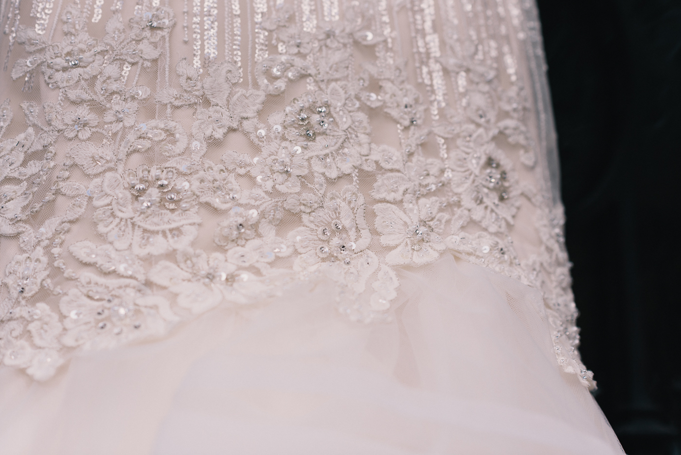 Fit and flare beaded lace mermaid top wedding gown dress detail