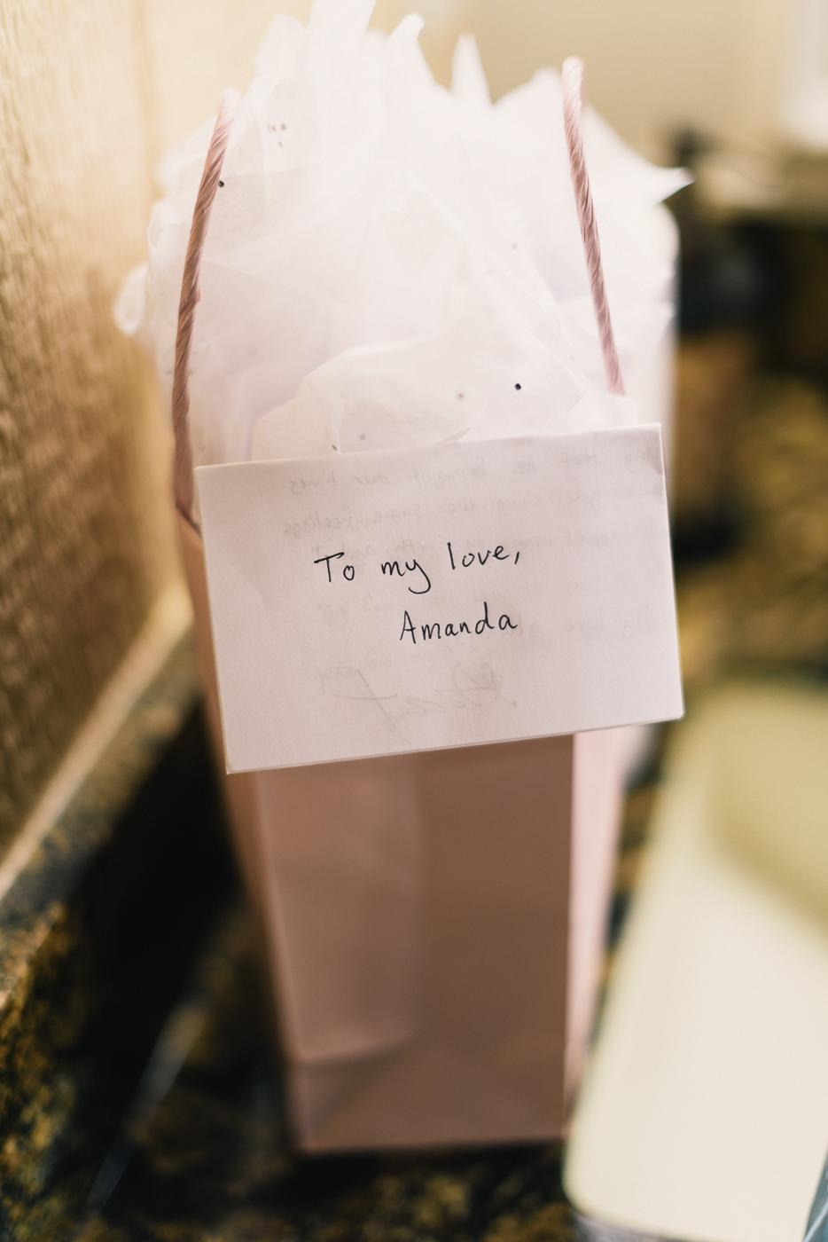 Wedding gifts to my love Amanda perfume brown bag tissue paper