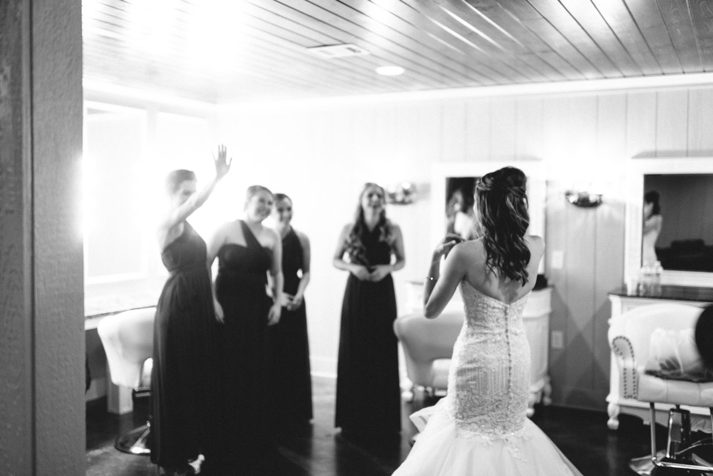 first look black and white bride and brides maids wow
