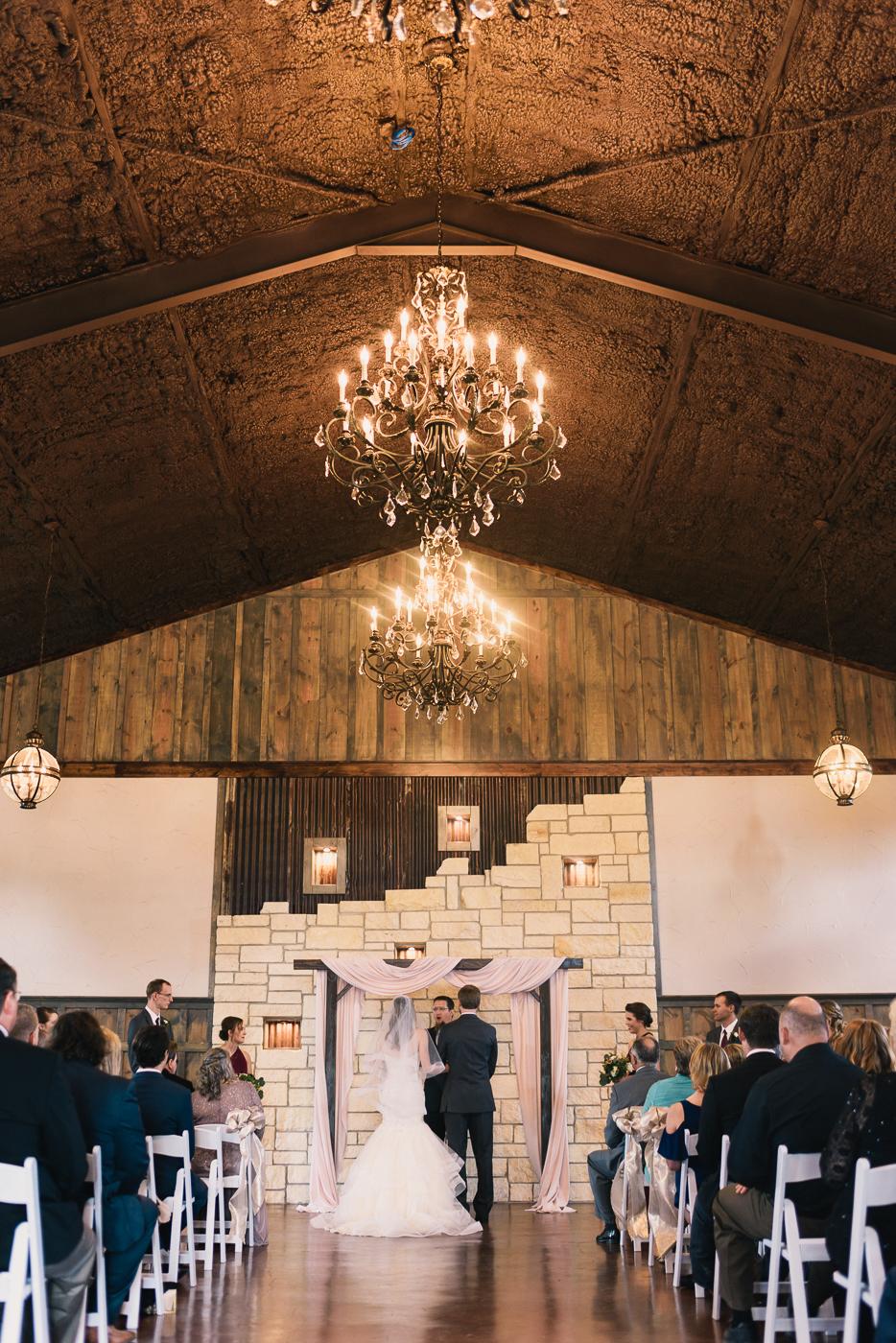 Wedding ceremony bride and groom altar chandelier