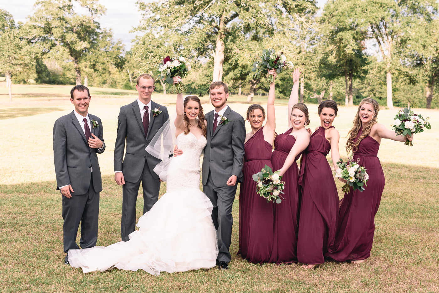 wedding party wedding portrait bridesmaids groomsmen broken arrow ranch college station candid shot