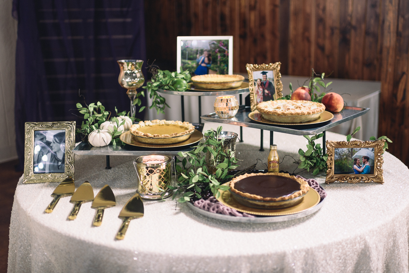 Wedding reception pies dessert table pretty pictures peach cobbler key lime chocolate