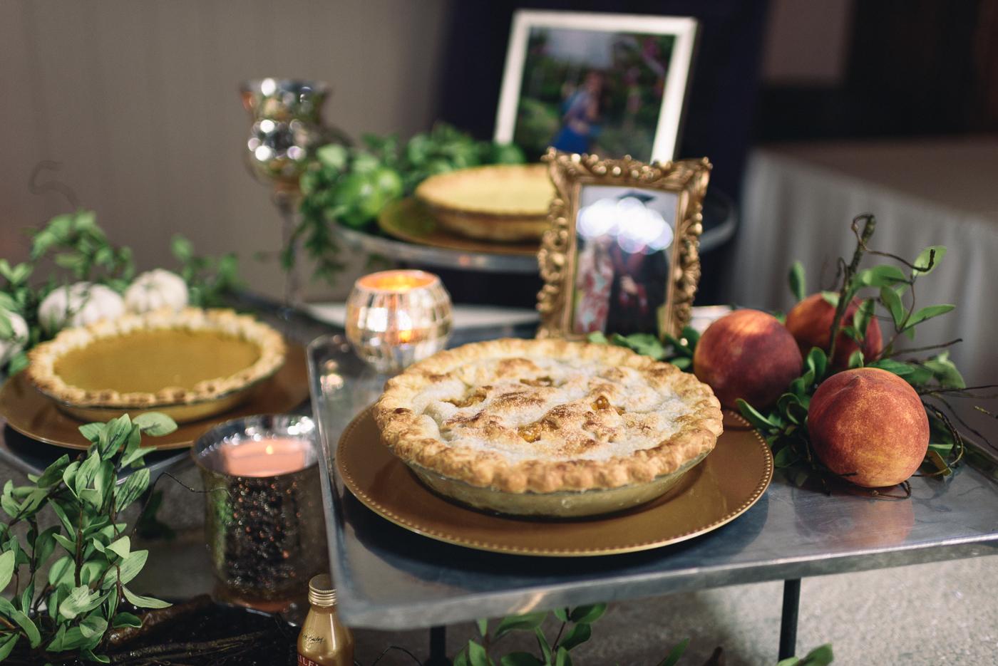wedding reception homemade peach cobbler dessert table