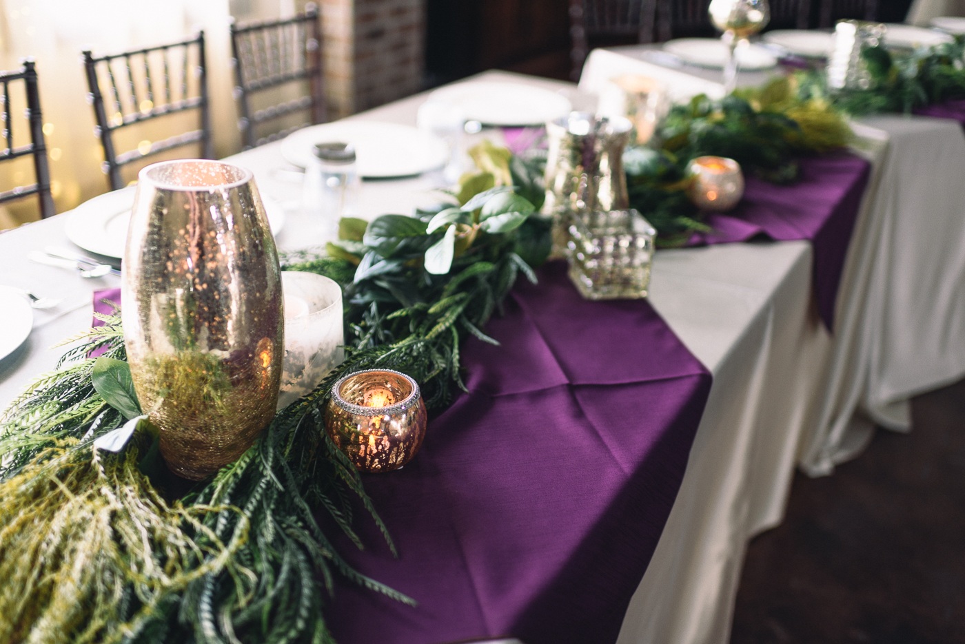 wedding decor wedding table purple linen fancy
