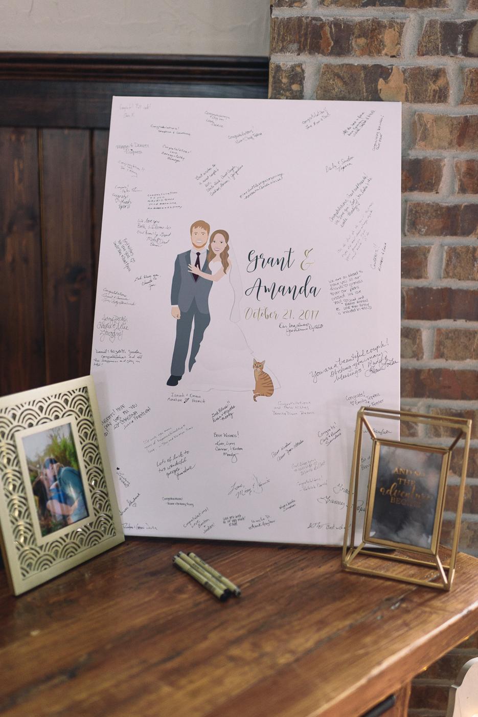 wedding reception guest book canvas great idea