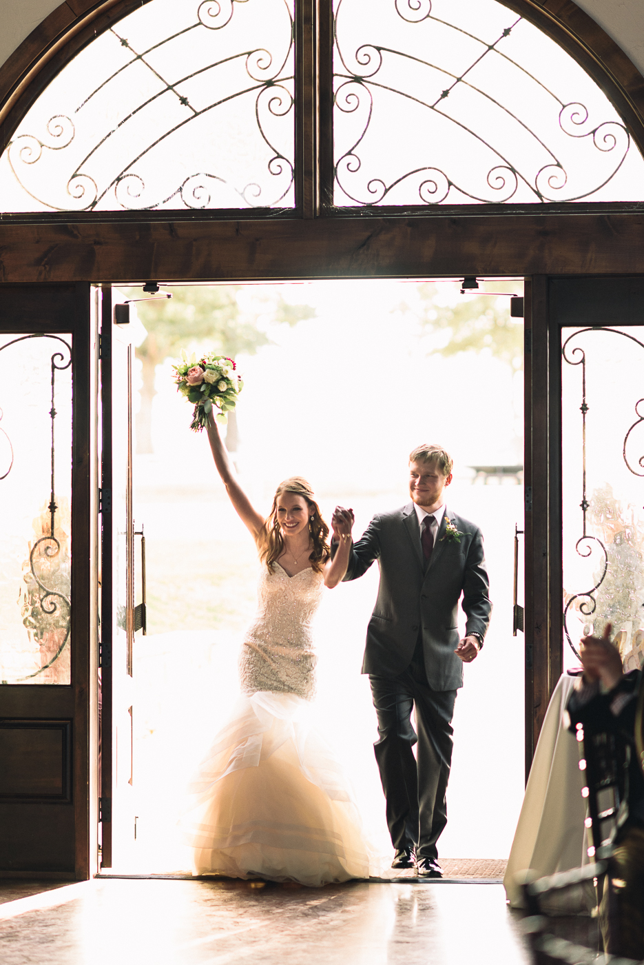grand entrance wedding newlyweds bride and groom celebration