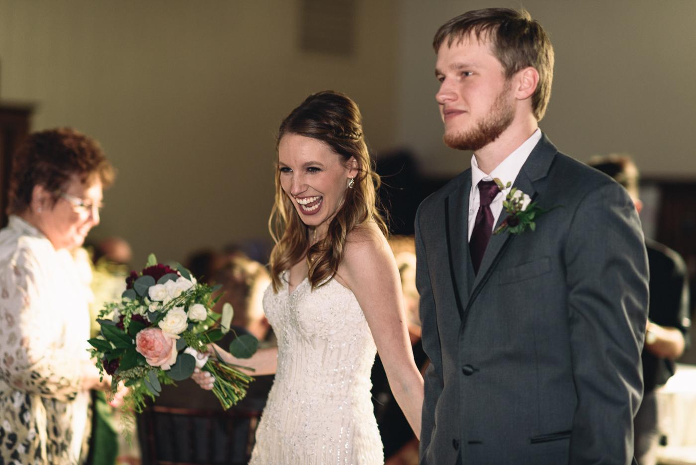wedding reception bride and groom grand entrance bouquet