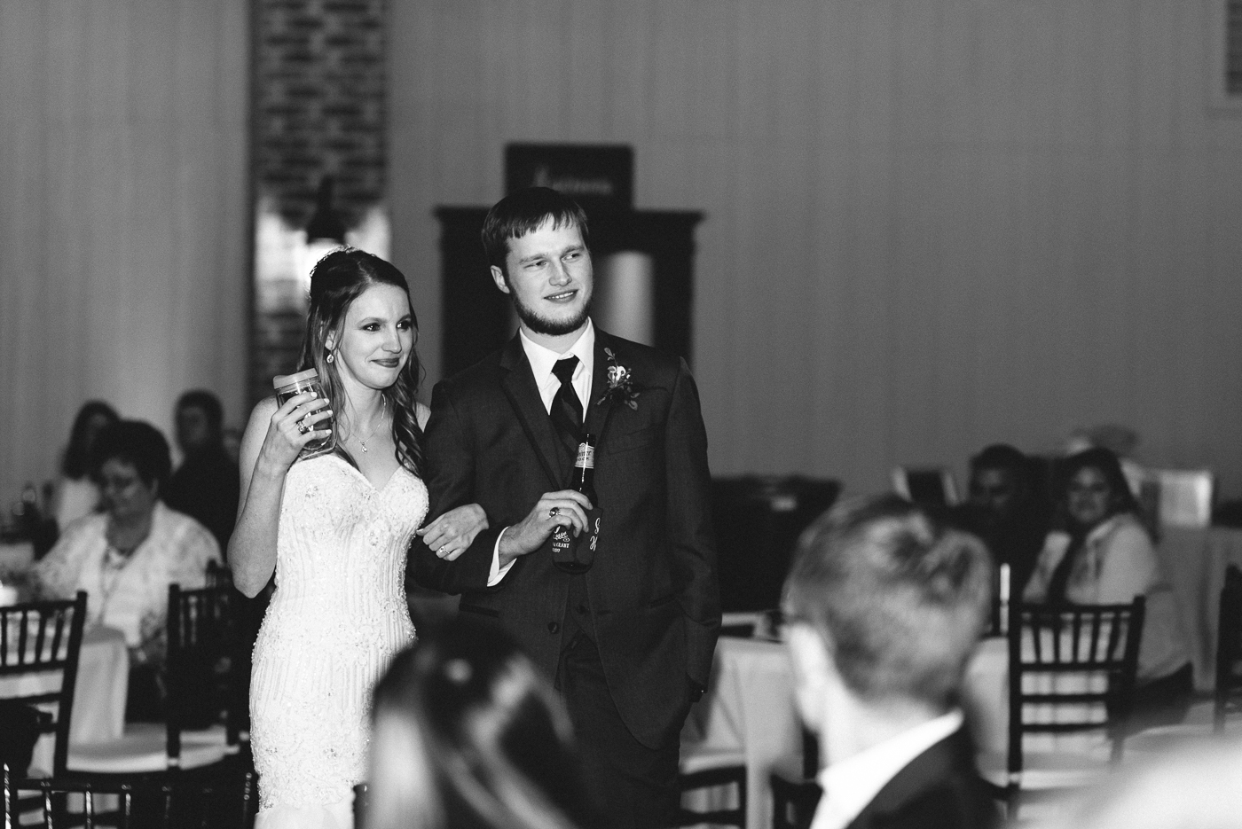 black and white wedding reception speeches bride and groom
