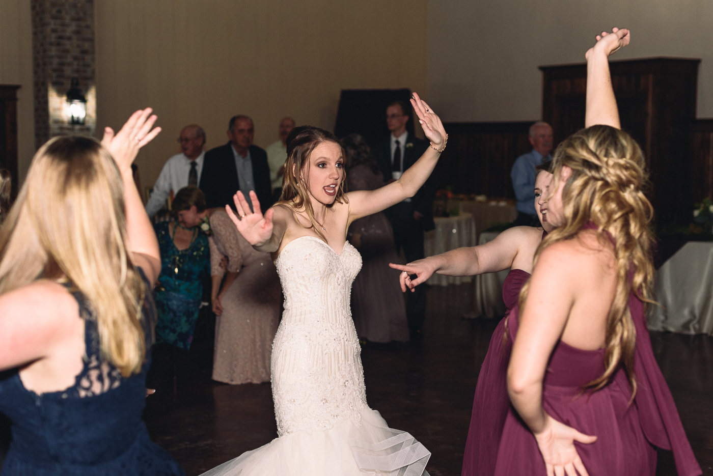 wedding reception bridal party dancing mermaid gown