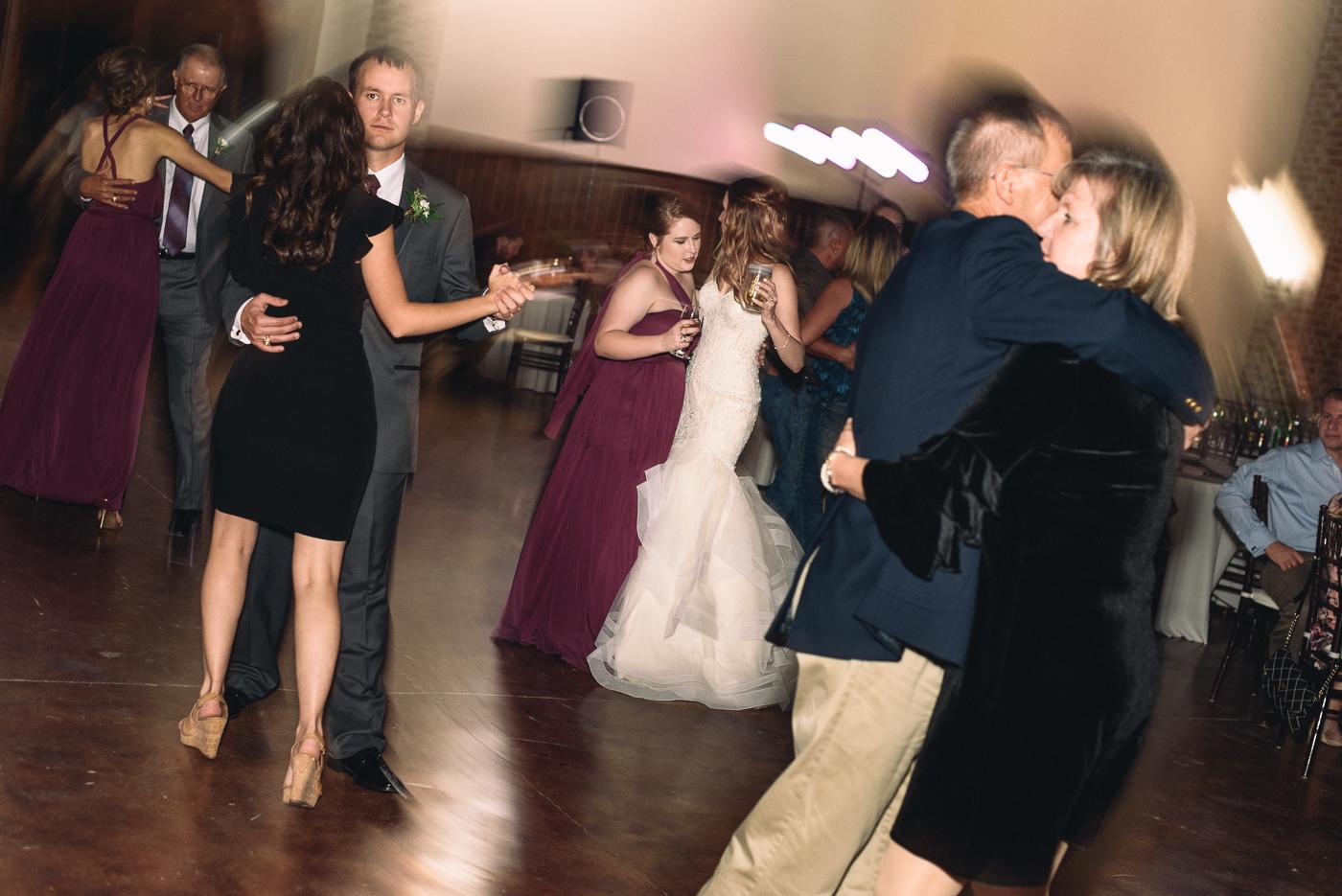 wedding reception dancing bride and bridesmaid