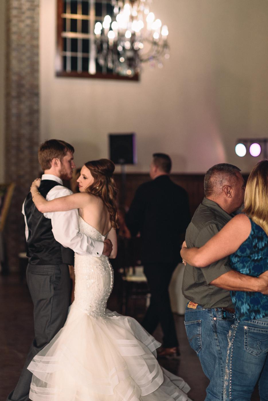 wedding reception bride and groom dancing slow dance mermaid gown