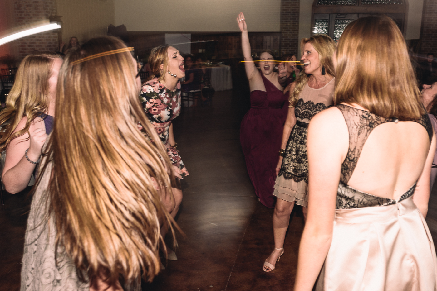 wedding reception dancing singing living on a prayer party dresses blonde hair