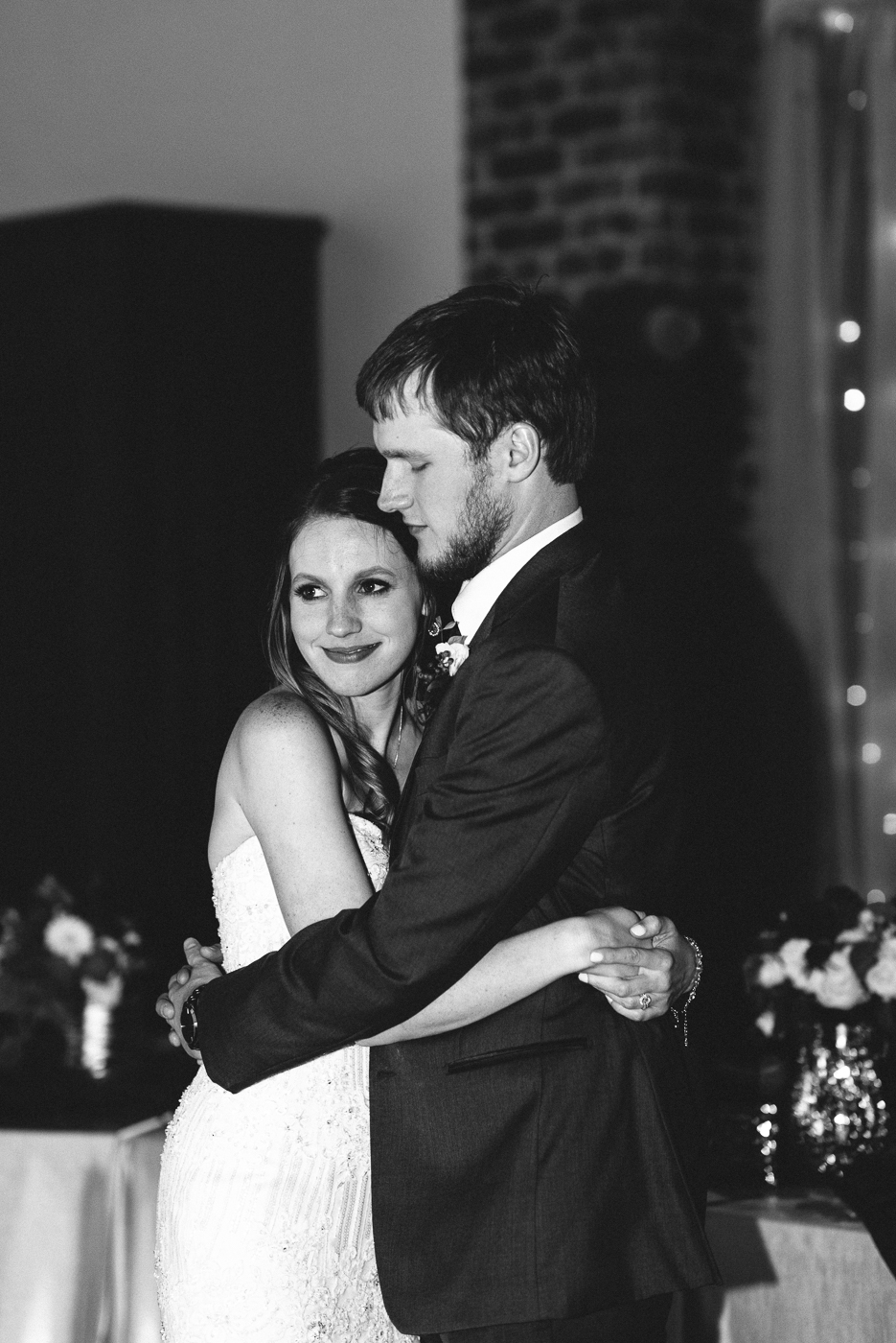 husband and wife black and white hug embrace love happily ever after