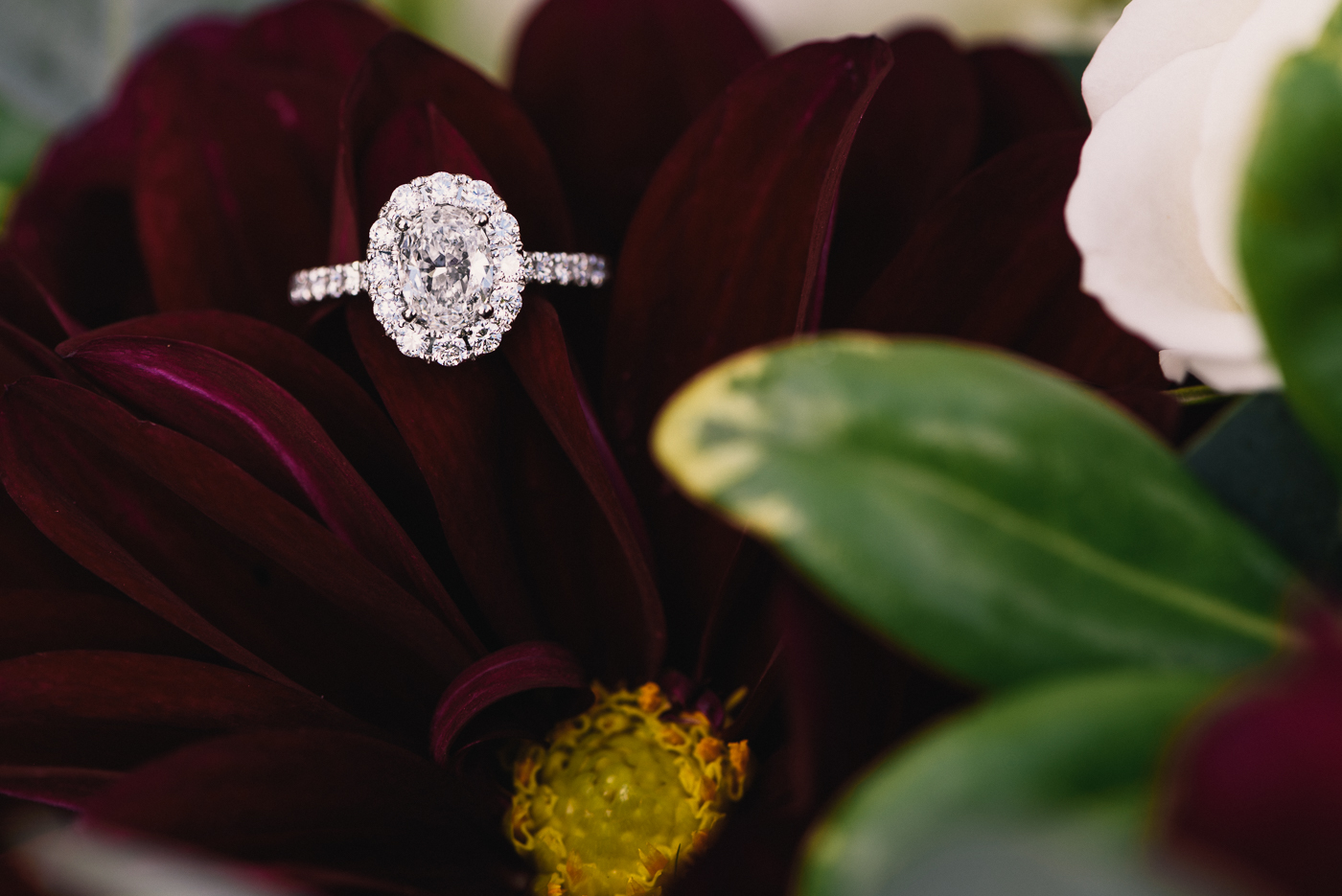 Engagement Ring and Flowers oval cut white gold platinum bouquet