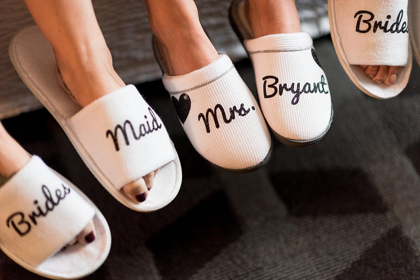 Bridesmaids bride wedding slippers wedding party