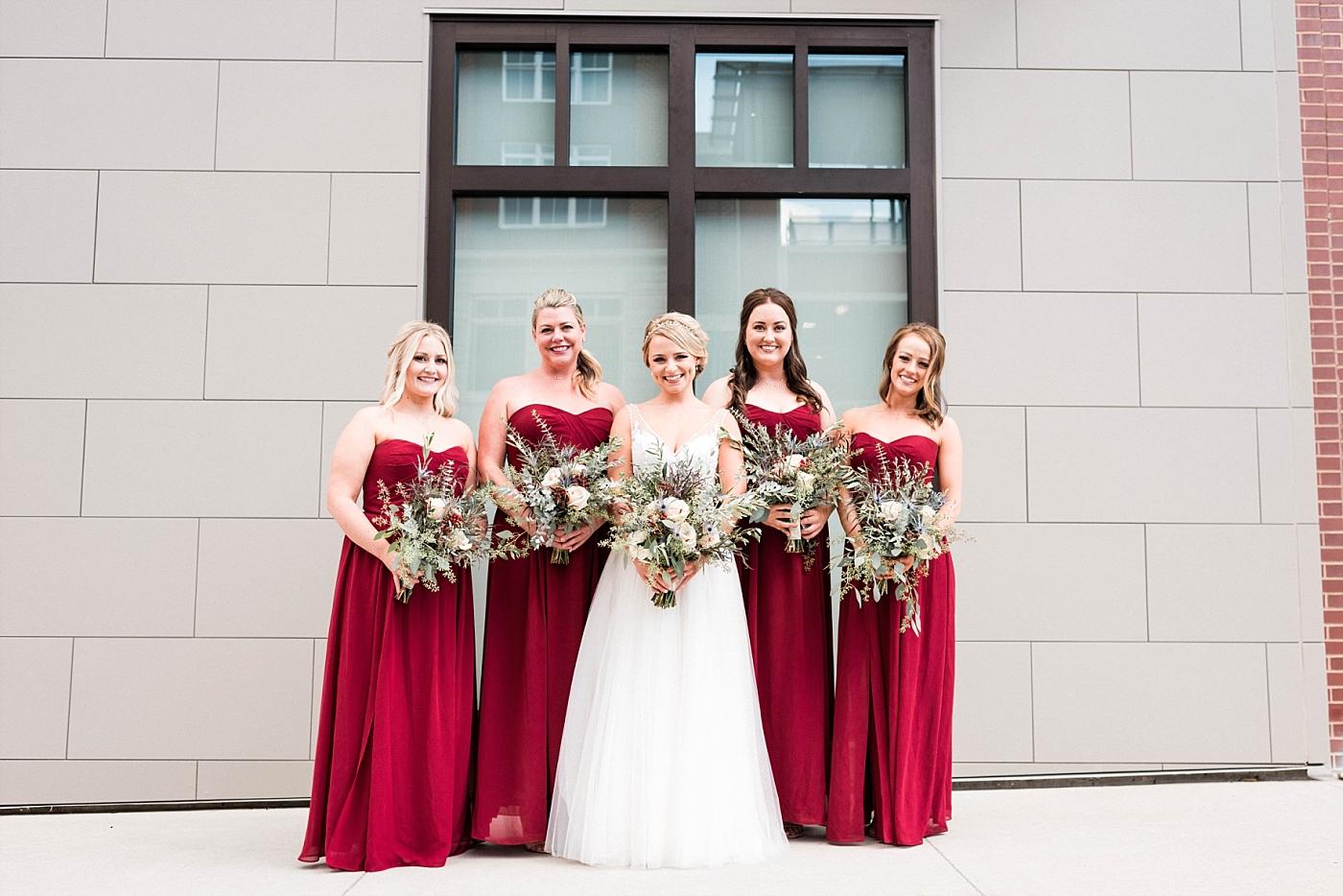 Wedding details bride bridal party bridesmaids gown bouquet church