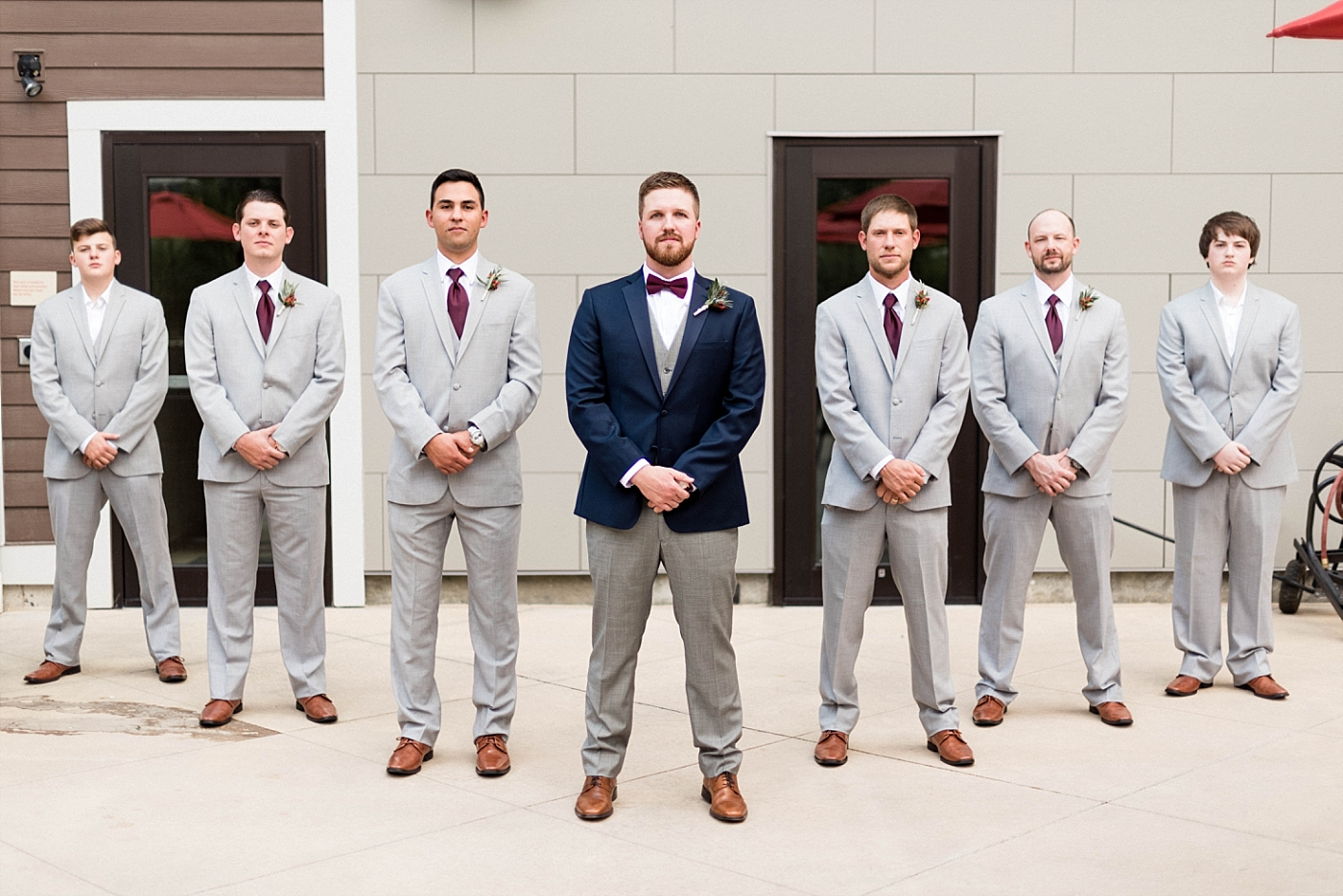 Groom groomsmen wedding church details