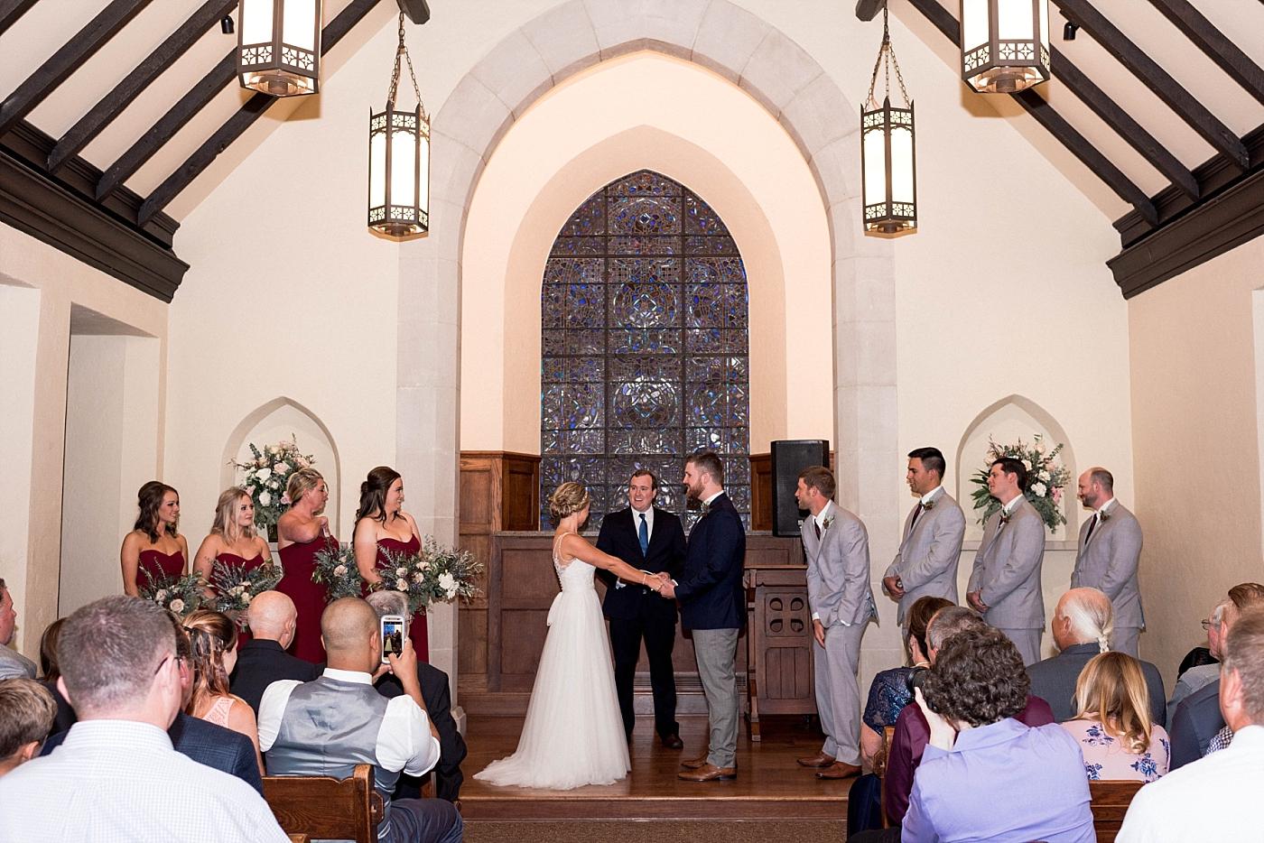 Church chapel wedding bride groom bridal party alter vows