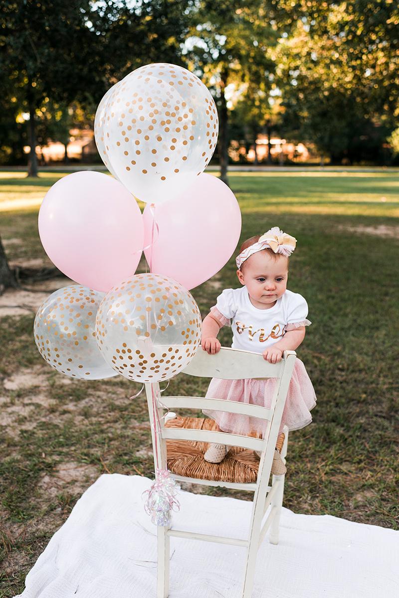 Pink balloons baby girl bennett brown photography